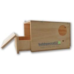 Vista del cassetto interno estraibile del Nido in legno per Calopsitte