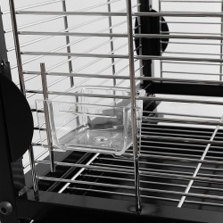 Dettaglio delle mangiatoie dela gabbia Agata per pappagalli