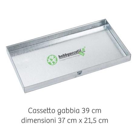 Cassetto scorrevole raccolta escrementi in lamiera per gabbia da 39cm