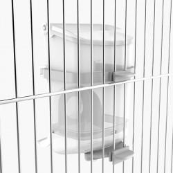 Mangiatoia eclissi montata all'interno della gabbia mediante il supporto.
