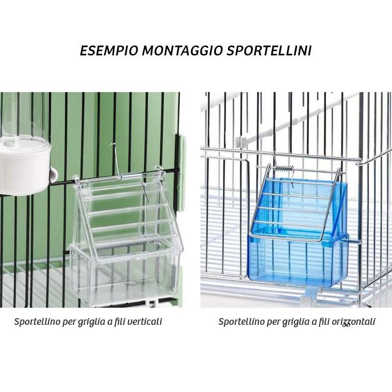 Esempio montaggio Sportellino in plastica per gabbie
